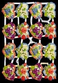 Glanzbilder mit Silber-Glimmer - 16 Blumenherze