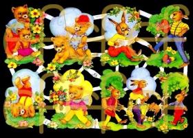 Glanzbilder mit Silber-Glimmer - Bären und Hasen
