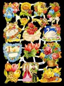 Glanzbilder mit Silber-Glimmer - Blumen mit Kindern und Tiere