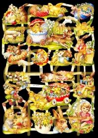 Glanzbilder mit Silber-Glimmer - Osterhasen, Küken, Ostereier, Lamm