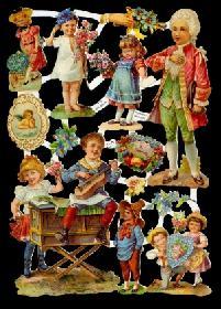 Glanzbilder - Kinder in barokken Kleidern