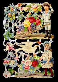 Glanzbilder - Kinder mit Blumen+Tauben