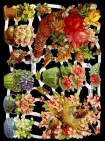 Glanzbilder mit Silber-Glimmer - Blumen in Körben, Vasen und ein Vogelnest
