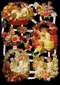 Glanzbilder - Kinder in Blumen