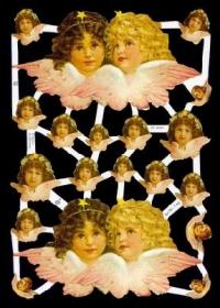 Glanzbilder mit Silber-Glimmer - 2 x 2 große Engelköpfe
