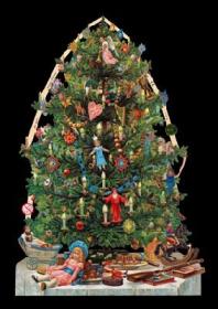 Glanzbilder mit Silber-Glimmer - Weihnachtsbaum