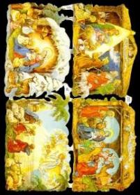 Glanzbilder mit Silber-Glimmer - drei mal die Krippe