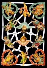Glanzbilder mit Silber-Glimmer - verschiedene Engel, 4 im Blumenherz