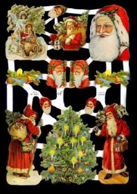 Glanzbilder mit Gold-Glimmer - Weihnachtsmänner und ein Weihnachtsbaum