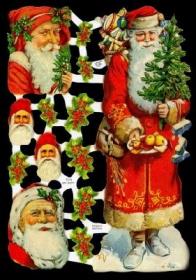 Glanzbilder mit Gold-Glimmer - ein großer Weihnachtsmann
