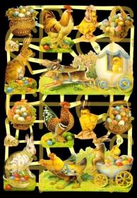 Glanzbilder mit Silber-Glimmer - Osterhasen, Küken und Ostereier