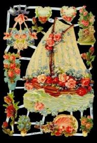 Glanzbilder mit Silber-Glimmer - Blumen und Segelboot