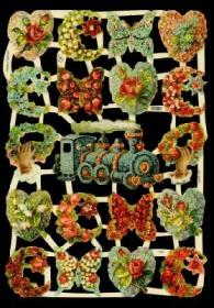 Glanzbilder mit Silber-Glimmer - Blumen mit Blumenlok