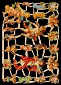 Glanzbilder mit Gold-Glimmer - 3 mittlere Engel und viele kleine Engel
