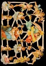 Glanzbilder mit Silber-Glimmer - Engel und Marie mit Jesuskind
