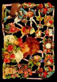 Glanzbilder - Kinder und Blumen
