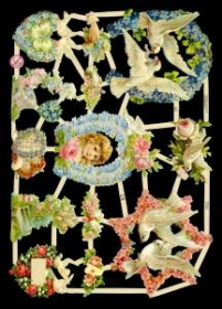 Glanzbilder mit Silber-Glimmer - Blumen mit Tauben und Kinderkopf