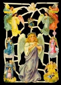 Glanzbilder mit Gold-Glimmer - großer und 6 mittlere Engel