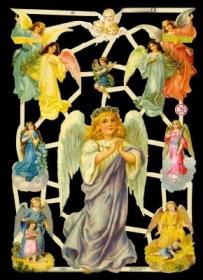 Glanzbilder mit Silber-Glimmer - großer und 6 mittlere Engel