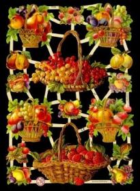 Glanzbilder mit Silber-Glimmer - leckerer Obstkorb