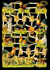 Glanzbilder mit Silber-Glimmer - Osterhasen, Ostereier, Hennen, Küken