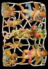 Glanzbilder mit Glimmer Engel mit Blumen,Jugendtr.