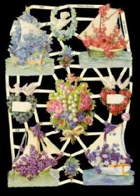 Glanzbilder mit Silber-Glimmer - 4 Schiffe mit Blumen, 2 Blumenherzen