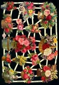 Glanzbilder mit Silber-Glimmer - Blumen in Vasen und Körben