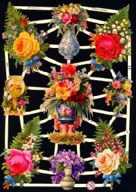 Glanzbilder mit Silber-Glimmer - verschiedene Blumen und Rosen