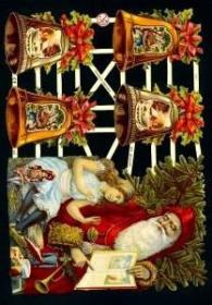 Glanzbilder mit Gold-Glimmer - großer Weihnachtsmann mit Kind und vier Glocken.