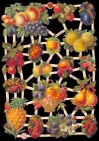 Glanzbilder mit Silber-Glimmer - Obstbogen mit Äpfel, Kirschen, Pflaumen, Beeren