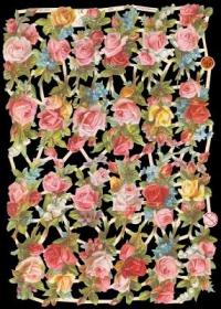 Glanzbilder mit Silber-Glimmer - Rote und gelbe Rosen