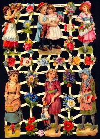 Glanzbilder - Kinder mit Blumen