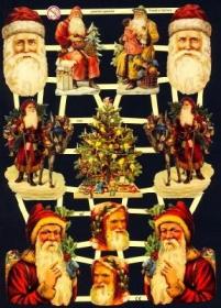 Glanzbilder mit Gold-Glimmer - Weihnachtsmänner, Weihnachtsmannköpfe