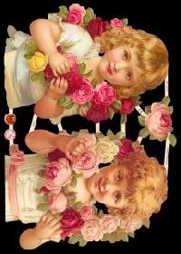 Glanzbilder - 2 Kinder mit Rosen