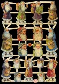 Glanzbilder mit Silber-Glimmer - Weichnachtsmänner & Weihnachtsmannköpfe
