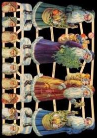 Glanzbilder mit Gold-Glimmer - 4 große Weihnachtsmänner
