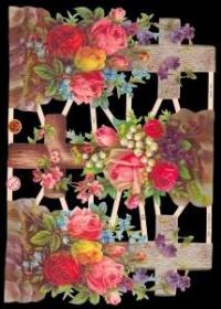 Glanzbilder mit Silber-Glimmer - Drei große Kreuze mit Rosen