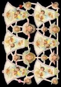 Glanzbilder mit Gold-Glimmer - 6 Engelglocken und 12 kleine Engelköpfe