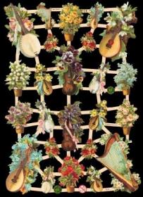 Glanzbilder mit Silber-Glimmer - Musikinstrumente mit Blumen verziert