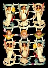 Glanzbilder mit Gold-Glimmer - 6 schwebende Engel & 3 Engelköpfe