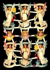 Glanzbilder mit Silber-Glimmer - 6 schwebende Engel & 3 Engelköpfe
