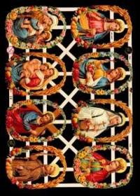 Glanzbilder mit Silber-Glimmer - 8 Bilder mit Heiligen