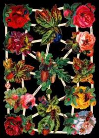 Glanzbilder mit Silber-Glimmer - Blumen mit Bienen, Käfern und Schmetterlingen