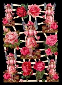 Glanzbilder mit Silber-Glimmer - Elfen, Rosenelfe, Blumenelfe und Rosen