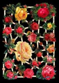 Glanzbilder mit Silber-Glimmer - verschiedene Rosen