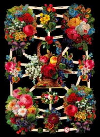 Glanzbilder mit Silber-Glimmer - Blumenkörbe und Blumensträuße