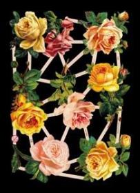 Glanzbilder mit Silber-Glimmer - 4 gelbe, 3 rosa und 1 rote Rose