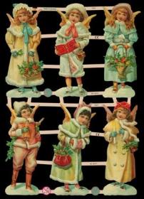 Glanzbilder mit Silber-Glimmer - 6 Schnee-Engel