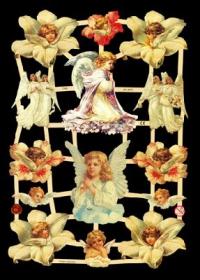 Glanzbilder mit Silber-Glimmer - Weiße Engel, unter anderem mit Blumen